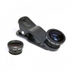 Mobilegear Universal 3 in 1 Mobile Camera Lens With Macro, Fisheye & Wide Angel Lens for Smartphones Photography - Black