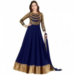 Dhruva Fab Navy Georgette Anarkali Gown Unstitched Dress Material