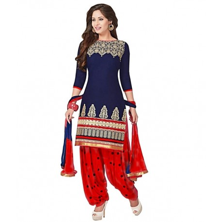 AWESOME FA Navy Cotton Semi Stitched Dress Material