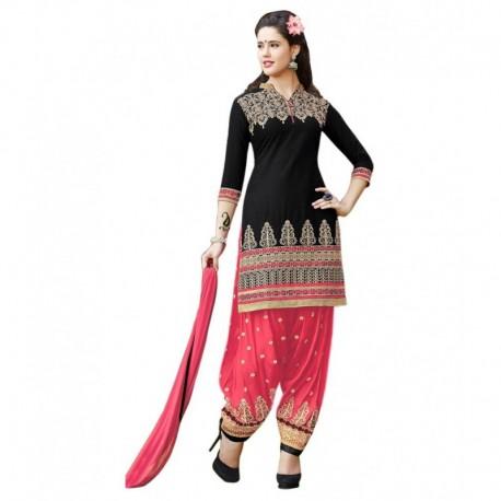 Aashvi Creation Black Cotton Unstitched Dress Material