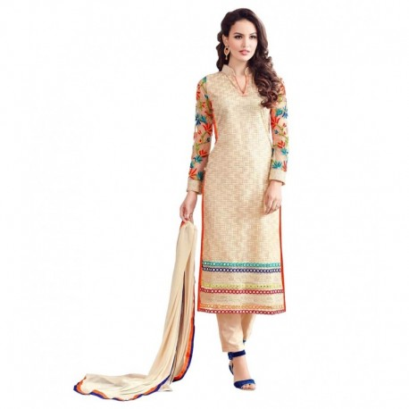 Awesome Fa Beige Net Straight Semi Stitched Dress Material
