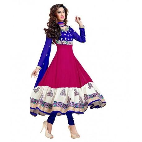 Shree Krishana Hub Blue & Pink Anarkali Dress Material