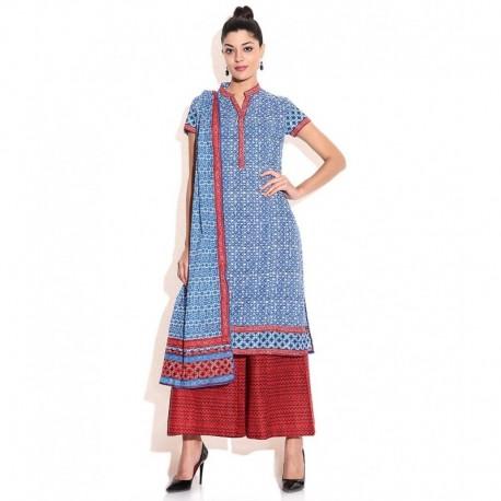 Biba Blue Cotton Salwar Suit With Dupatta
