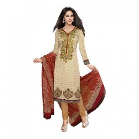 Sonal Dresses Beige Cotton Straight Unstitched Dress Material