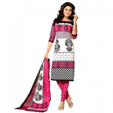 Drapes White & Pink Cotton Printed Dress Material