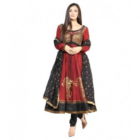 Shakumbhari Maroon Silk Stitched Suit