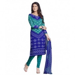Drapes Blue Cotton Unstitched Dress Material