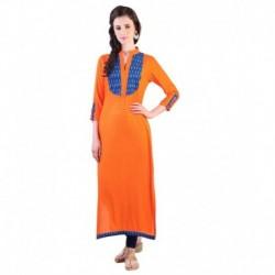 Libas Orange Rayon Straight Kurti