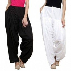 Pistaa Black and White Cotton Patiala Pack of 2 Salwar