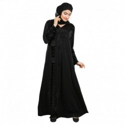 Ehaani Black Stitched Burqas with Hijab