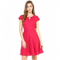 The Vanca Fuchsia Poly Georgette Dresses