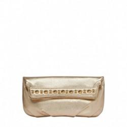 Eske Fancy Gold Leather Clutch