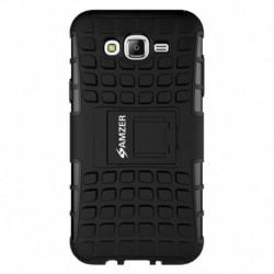 Amzer Hybrid Warrior Case - Black/ Black for Samsung Galaxy J7 SM-J700F