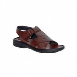 Leeport Brown Synthetic Leather Party Wear Sandals for Men