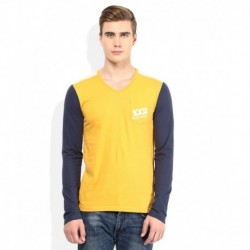 Being Human Yellow Solid V Neck T Shirt
