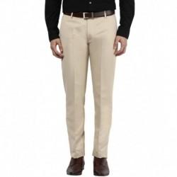 Bukkl Cream Slim Fit Flat Trousers
