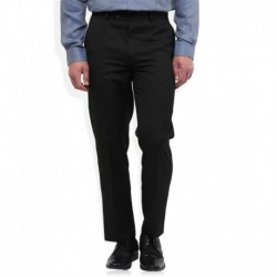 Wills Lifestyle Black Solid Flat Front Trousers