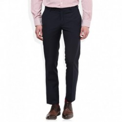 John Players Navy Blue Solid Pleated Front Trousers