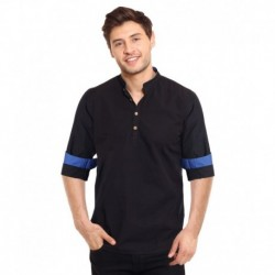 I-Voc Black Casual Cotton Short Kurta