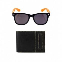 Elligator Black Leather Wallet With Lotto Wayfarer Sunglass Combo