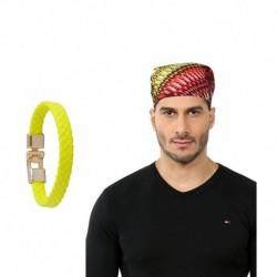 Alpha Man Combo Of Multicolor Cotton Bandana And Leather Bracelet For Men