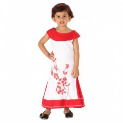 Lil Orchids Red Cotton Floral Printed Girls Side Cut Casual Dress