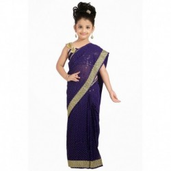 Bhartiya Paridhan Purple Viscose Ready To Wear Pink Saree For Girls