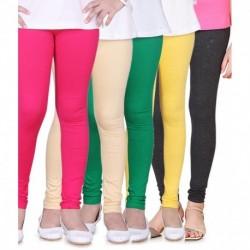 Sinimini Pack of 5 Multi Colors Trendy Leggings For Kids
