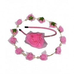 Goodluck Collection Pink Floral Hairband with Tiara