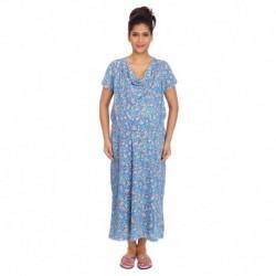 Kriti Comfort Blue and Orange Cotton Hospital Gown